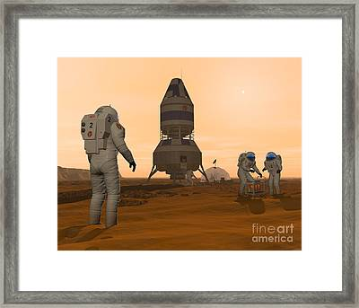 Illustration Of Astronauts Setting Framed Print by Walter Myers