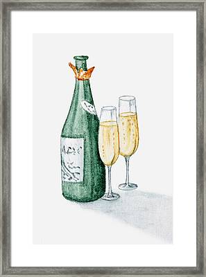 Illustration Of Champagne Bottle And Two Glasses Filled With Champagne Framed Print by Dorling Kindersley