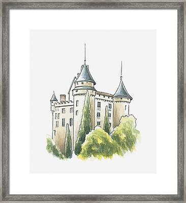 Illustration Of Chateau De Mercues, Mercues, Lot, France Framed Print by Dorling Kindersley