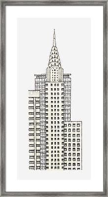 Illustration Of Chrysler Building, New York City Framed Print by Dorling Kindersley