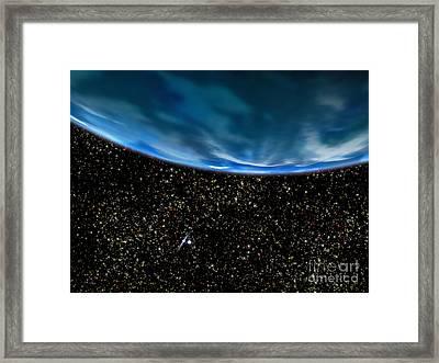 Illustration Of Earths Horizon Framed Print