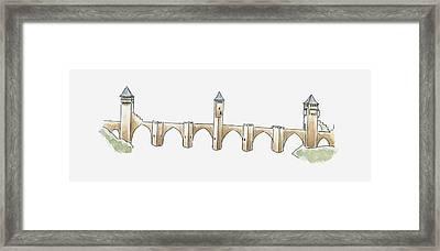 Illustration Of Pont Valentre, Cahors, Lot, France Framed Print by Dorling Kindersley