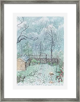 Illustration Of Rain Or Wet Snow Against A Window Looking Out Onto A Garden Framed Print by Dorling Kindersley