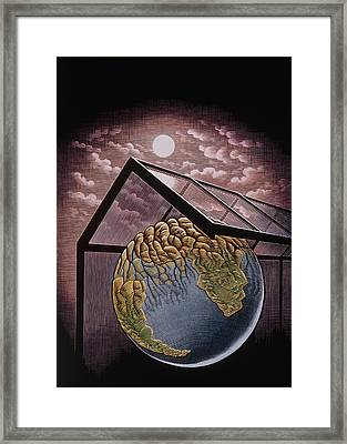 Illustration Of The Greenhouse Effect Framed Print