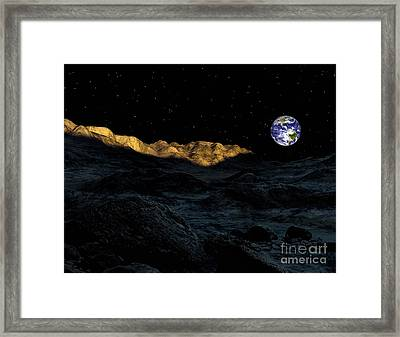 Illustration Of The Peaks Surrounding Framed Print by Ron Miller
