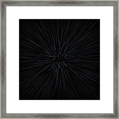 Illustration Of Warp Speed Movement Through Stars Framed Print by Stockbyte