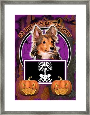 I'm Just A Lil' Spooky Sheltie Puppy Framed Print by Renae Laughner