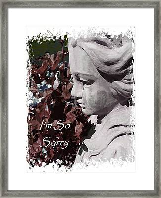 I'm So Sorry Angel Card Framed Print by Cindy Wright