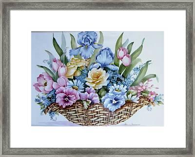 Image 1119 Flower Basket Framed Print by Wilma Manhardt