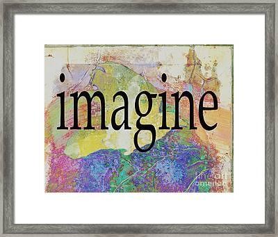 Imagine Typography Art Framed Print by Ann Powell