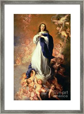 Immaculate Conception Of The Escorial Framed Print by Esteban Murillo