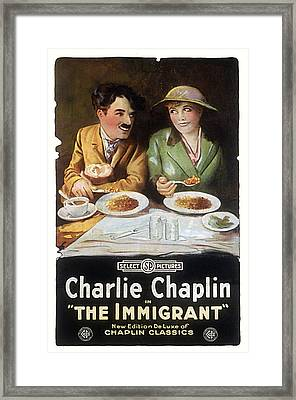Immigrant, Charlie Chaplin, Edna Framed Print by Everett