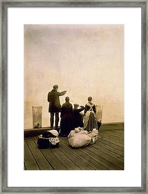Immigrant Family And Their Belongings Framed Print by Everett