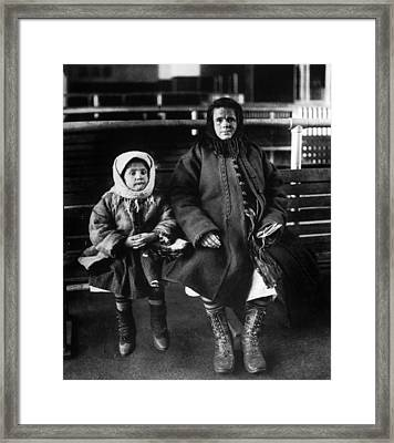 Immigrant Mother And Daughter, Ellis Framed Print by Everett