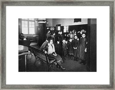 Immigrants In A Detention Pen, Ellis Framed Print
