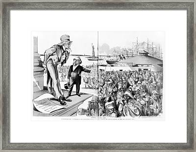 Immigration, Where The Blame Lies Framed Print by Everett