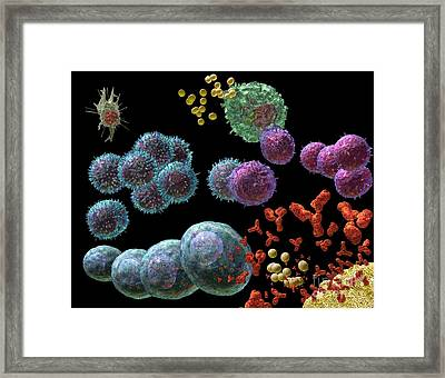 Framed Print featuring the digital art Immune Response Antibody 2 by Russell Kightley