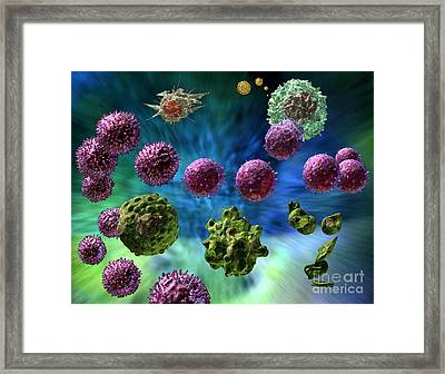 Framed Print featuring the digital art Immune Response Cytotoxic 1 by Russell Kightley