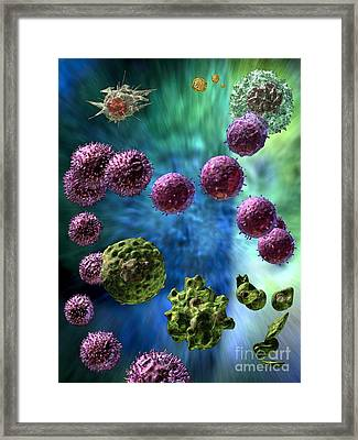 Framed Print featuring the digital art Immune Response Cytotoxic 3 by Russell Kightley
