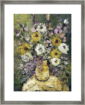 Impression Of Flowers Bouquet Yellow Vase On White Table Purple Flowers Green Background Stained   Framed Print by Rachel Hershkovitz