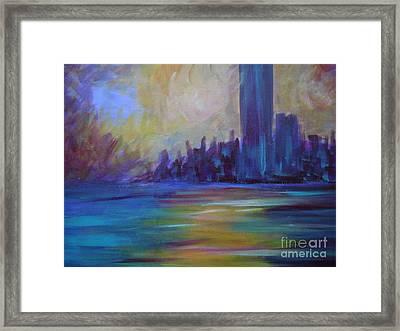Impressionism-city And Sea Framed Print by Soho