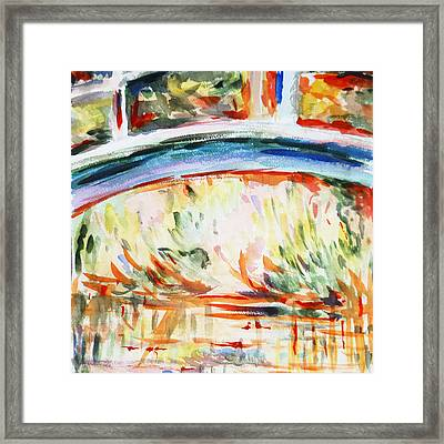 Impressions On Monet Painting Of Pond With Waterlilies  Framed Print