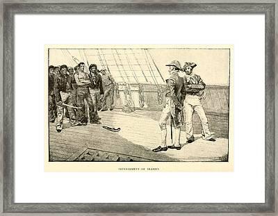 Impressment Of American Seaman Framed Print by Everett