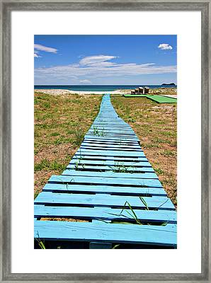 Improvised Boardwalk Framed Print by Meirion Matthias