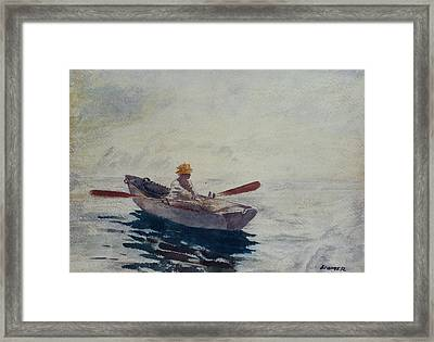 In A Boat Framed Print by Winslow Homer