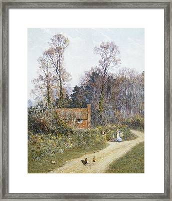 In A Witley Lane Framed Print by Helen Allingham