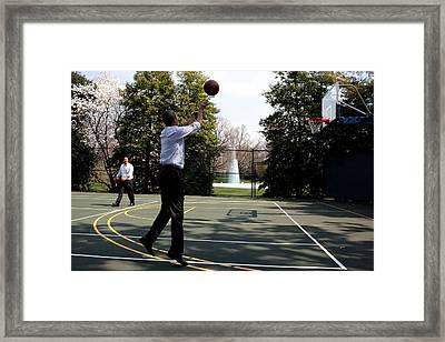 In Between Meetings President Obama Framed Print