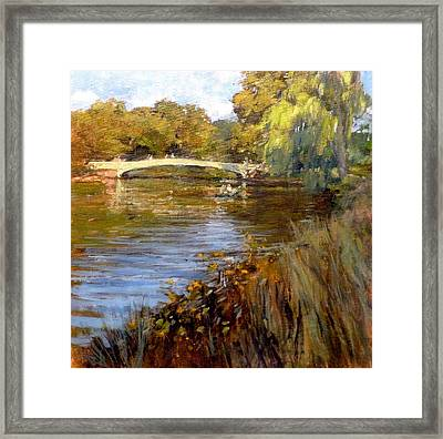 In Central Park - Summer Afternoon Near Bow Bridge Framed Print