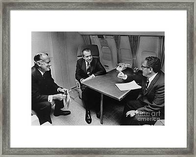 In Flight Discussion, President Nixon & Framed Print by Photo Researchers
