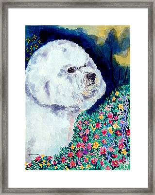 In Mom's Flowers - Bichon Frise Framed Print by Lyn Cook