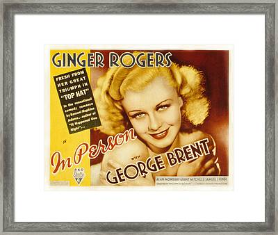 In Person, Ginger Rogers, 1935 Framed Print by Everett