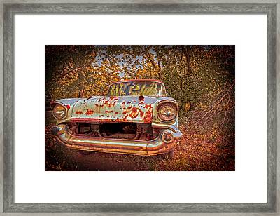 Old Car In The Backwoods Framed Print by Toni Hopper