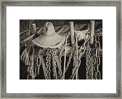Framed Print featuring the photograph In The Barn by Nancy De Flon