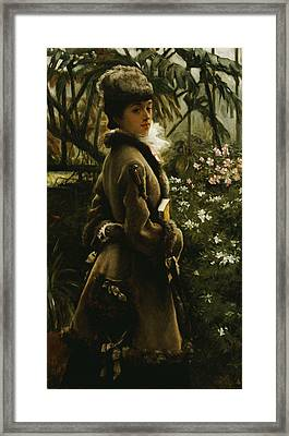 In The Greenhouse Framed Print by James Jacques Joseph Tissot