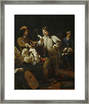In The Studio Framed Print by Michael Sweerts