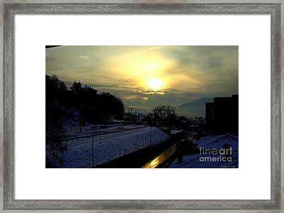 in Ticino una mattina presto guardando verso Brunate  Framed Print by Mariana Costa Weldon