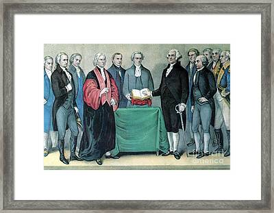 Inauguration Of George Washington, 1789 Framed Print by Photo Researchers