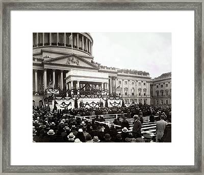 Inauguration Of President Franklin Framed Print by Everett