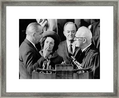 Inauguration Of President Lyndon. Chief Framed Print by Everett
