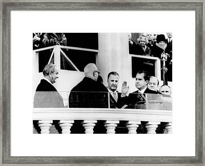 Inauguration Of Richard Nixon. L-r Framed Print by Everett