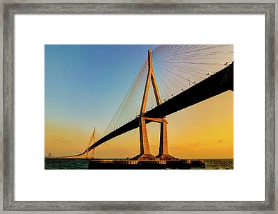 Incheon Bridge With First 2012 Sunset. Framed Print