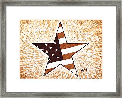 Independence Day Star Usa Flag Coffee Painting Framed Print by Georgeta  Blanaru