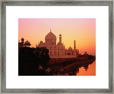 India,agra,taj Mahal And River Yamuna,sunset Framed Print by David Sutherland
