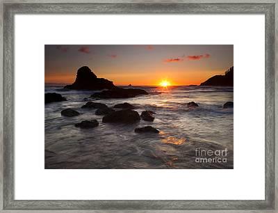 Indian Beach Sundown Framed Print by Mike  Dawson