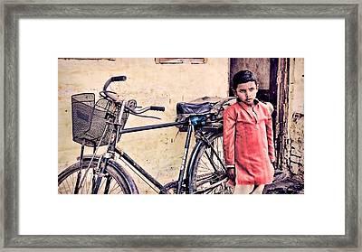 Indian Boy With Cycle Framed Print by Parikshat sharma