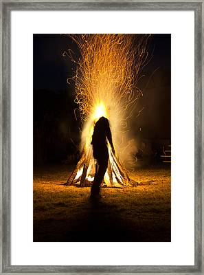 Indian Ceremonial Bonfire Framed Print by Ralph Brannan